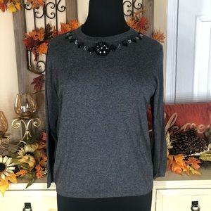 Ellen Tracy | women's grey long sleeve blouse